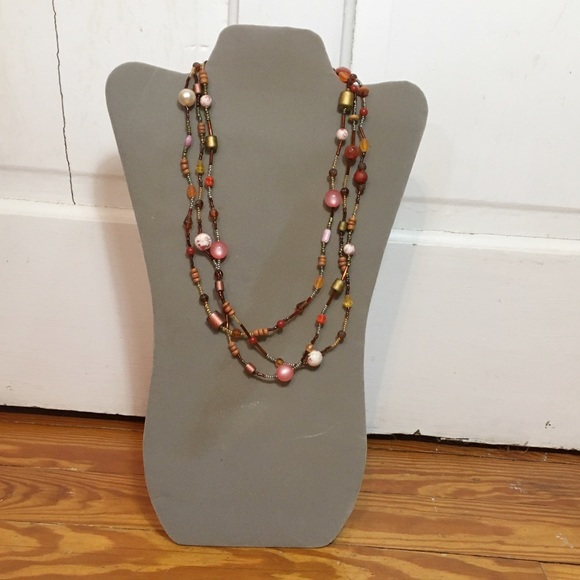 Unknown Jewelry - Vintage Peaches and Cream Boho Beaded Necklace